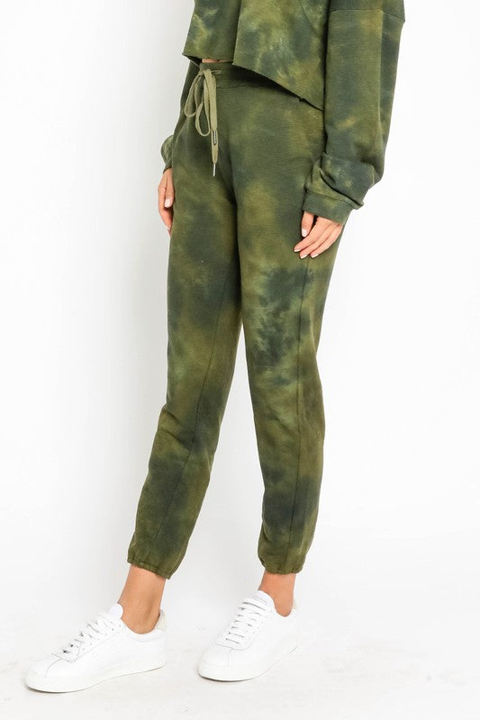 OLIVE TIE DYE DRAWSTRING JOGGERS Drawstring Elastic Band Joggers Tie Dye Print Front Side Pockets Dual Back Pockets Super Soft