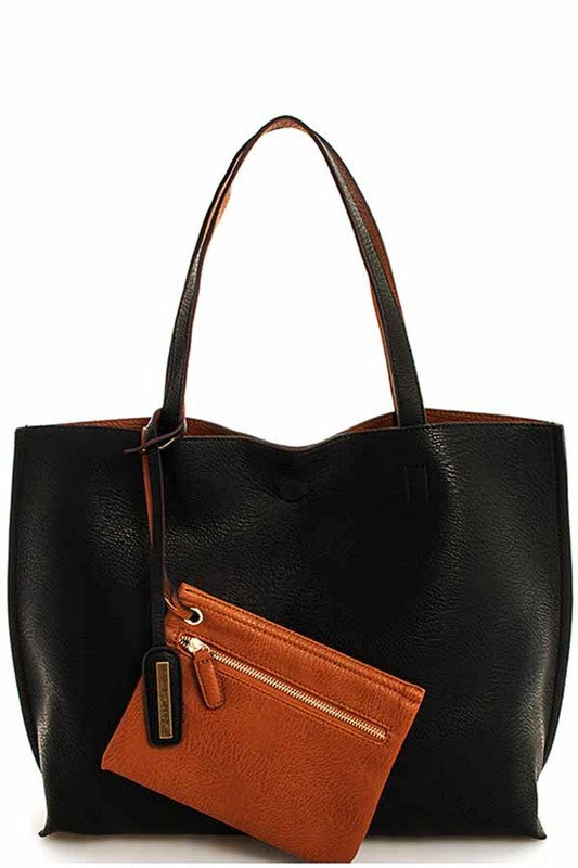 Black/Brown vegan leather reversible tote with makeup bag by street level