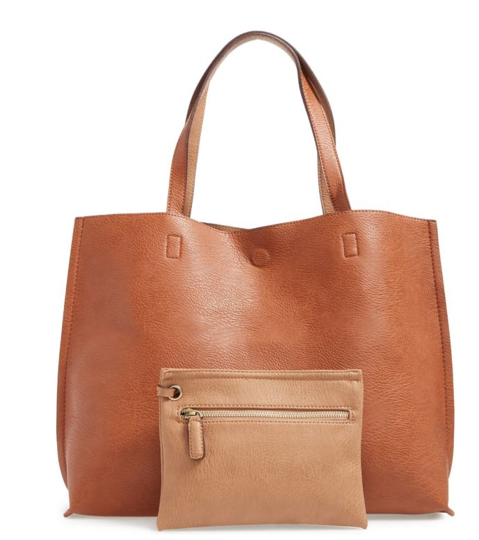 Brown/tan vegan leather reversible tote with makeup bag by street level