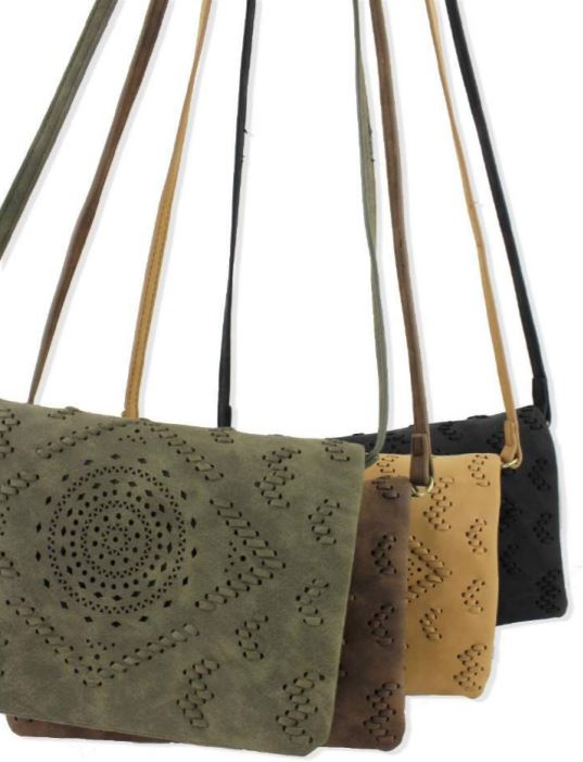 ETCHED LASER DESIGN CROSSBODY BAGs in multiple colors by street level