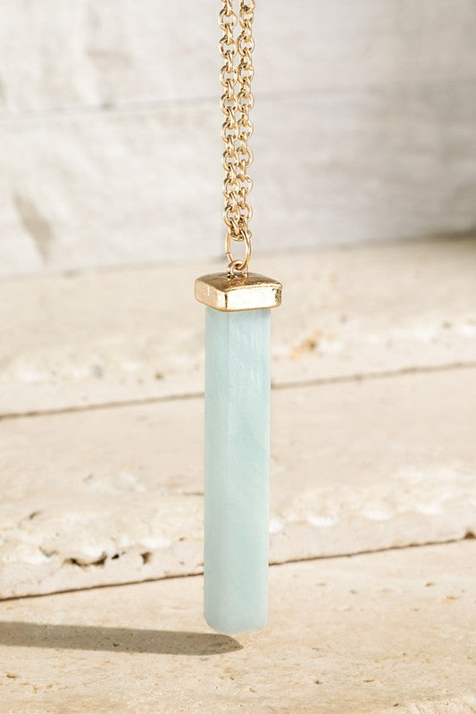 STONE BAR PENDANT (AMAZONITE) with gold tone chain