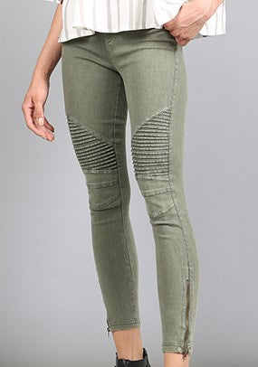 Moto Jegging by Beulah in Olive