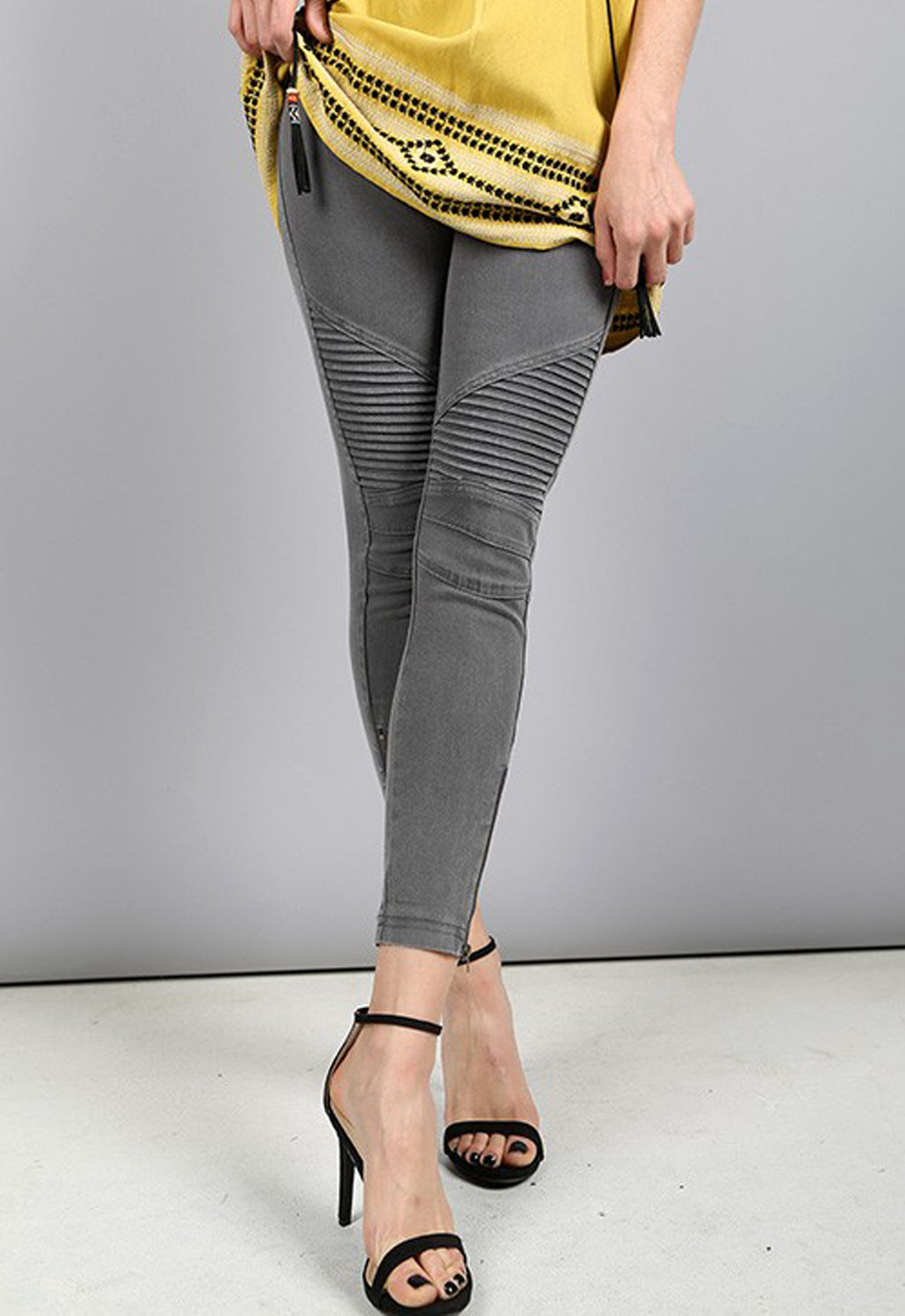 Moto Jegging by Beulah in Dark Gray