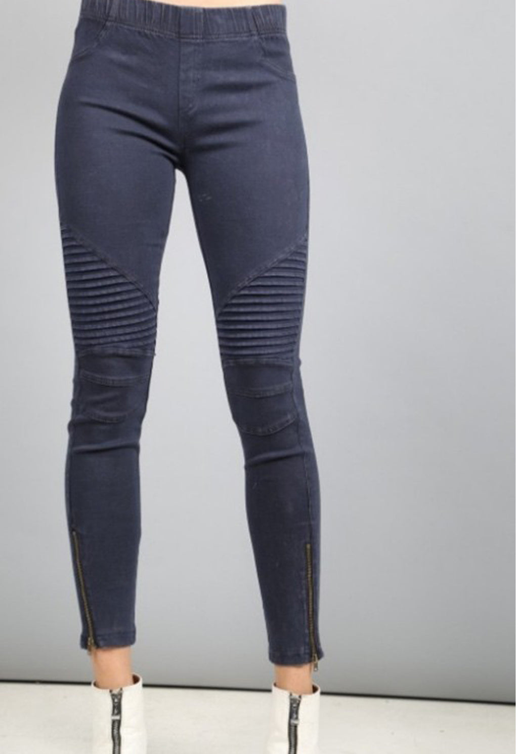 Moto Jegging by Beulah in Midnight blue