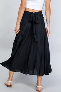 MIDI SKIRT WITH BACK TIE in Black Rayon-Linen Blend
