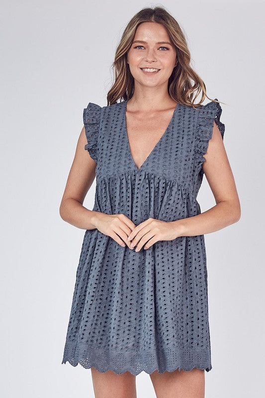 EMBROIDERED ROMPER DRESS IN CHARCOAL EYELET WITH SHORTS