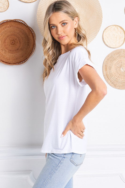 CUFFED SLEEVE CREW NECK T-SHIRT in White