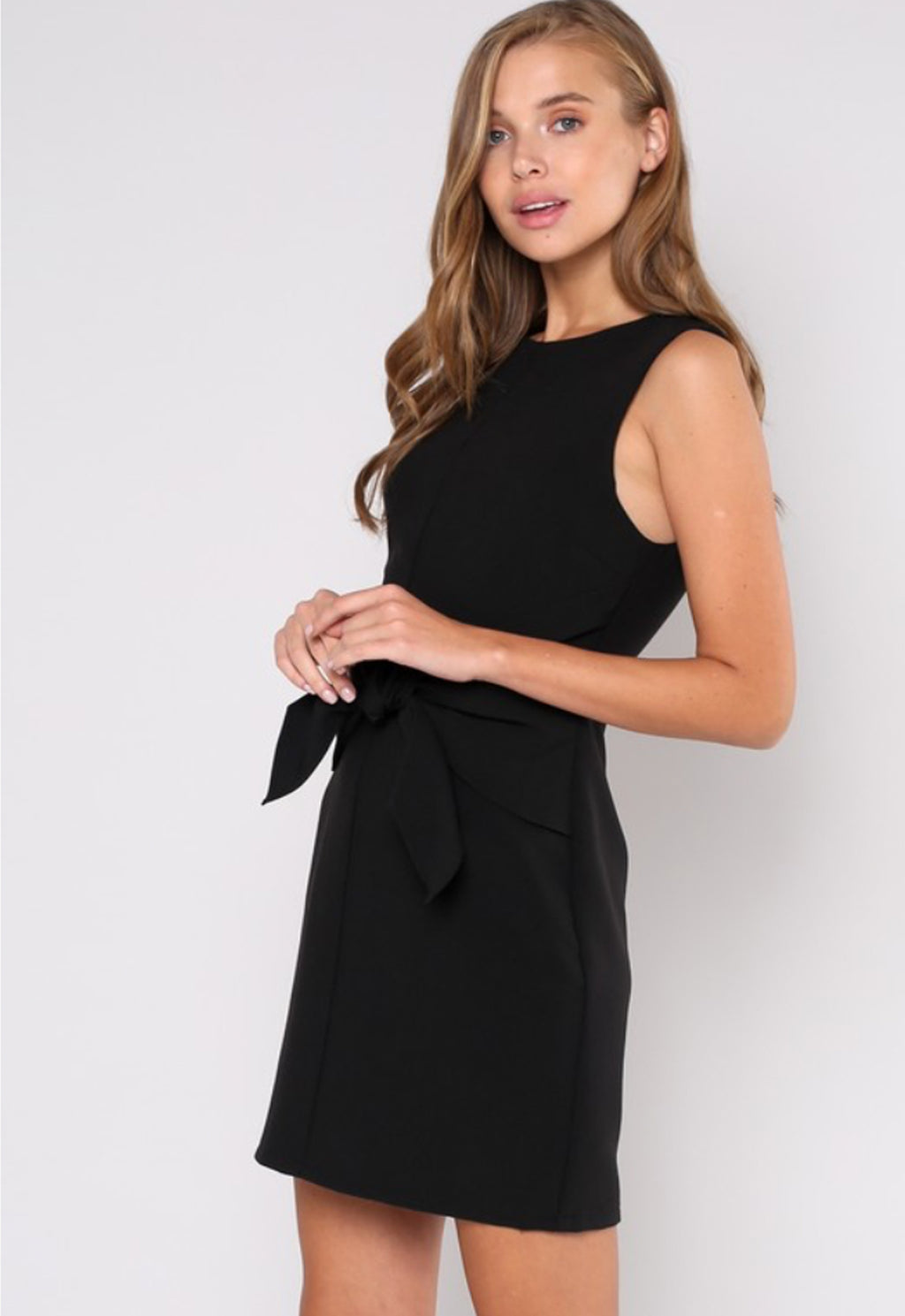 Ladies Cocktail Dress in Black with front tie at waist. By Do & Be