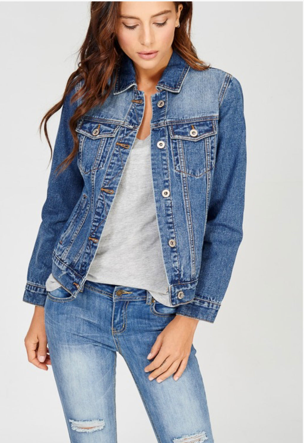 Ladies Classic Denim Jean Jacket in Medium Wash. By Wishlist