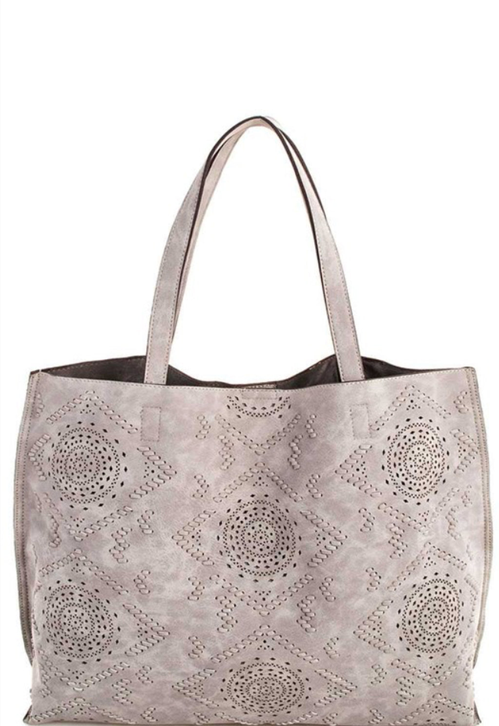 Ladies Vegan Leather Tote with etched design color light gray. By Street Level