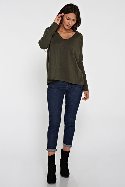 Pullover Sweater Long Ribbed Sleeves V-Neck Mid Back Slit to Hem Super Soft Unlined/ Not Sheer Color:  Dark Olive