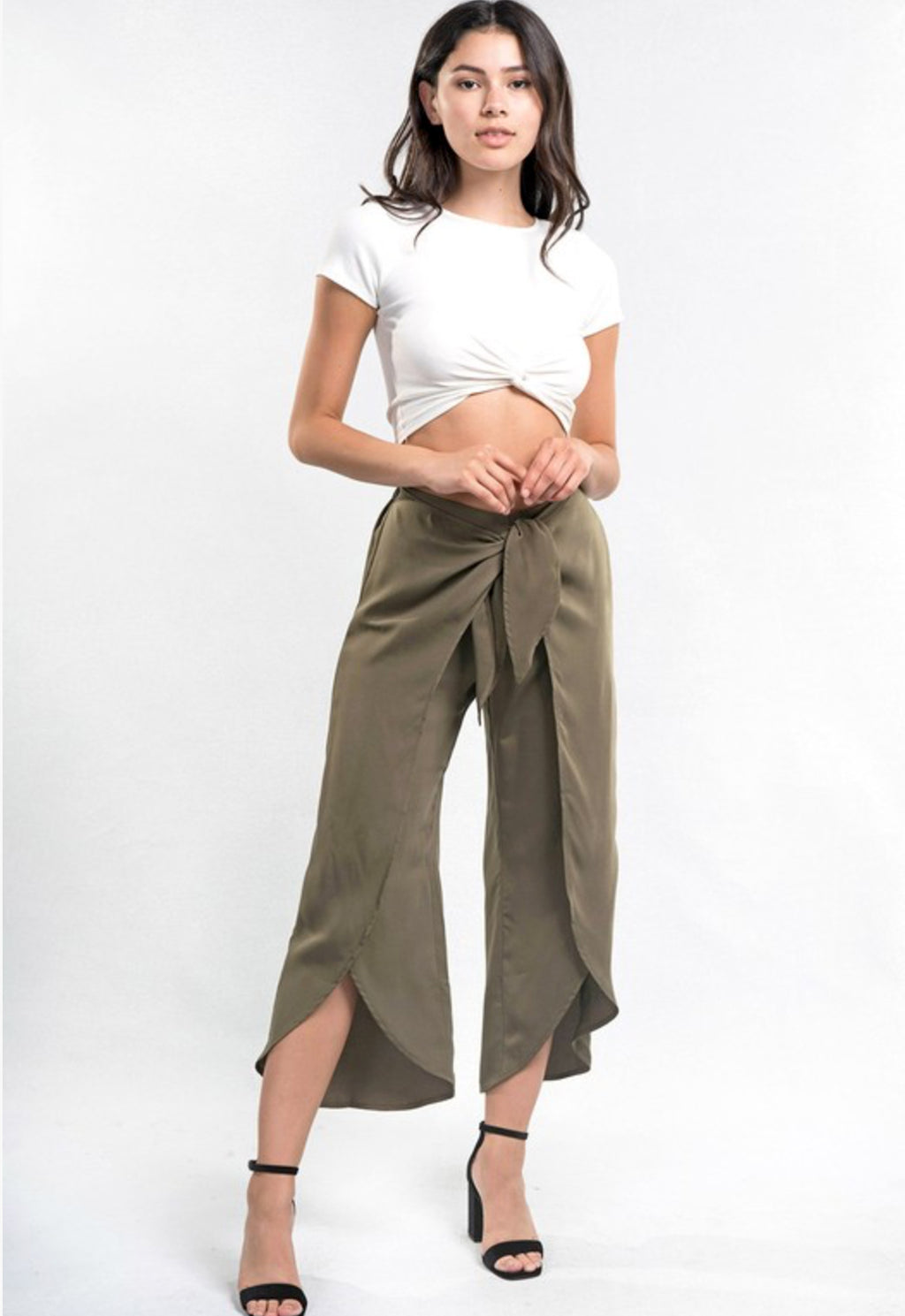 Ladies wrap front tulip pants, olive color. By Lovestitch