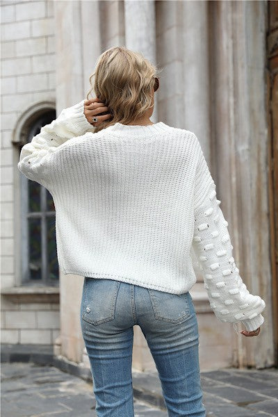 High Neck Cable Knit Sweater Dropped Shoulder Long Lantern Sleeves with Raised Bar Design Color:  Ivory