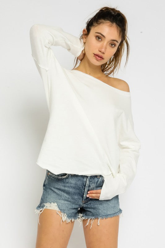 Ivory ASYMMETRICAL OFF-THE-SHOULDER SWEATSHIRT