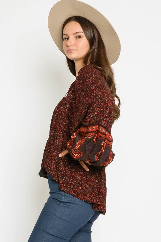 Auburn Red Print with long balloon sleeve boho style peasant blouse