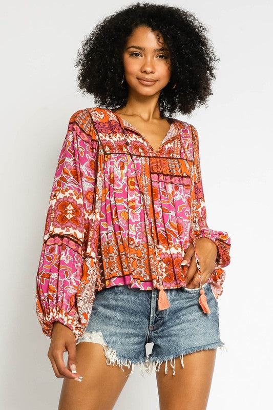 PATCHWORK PEASANT BLOUSE with Balloon Sleeves