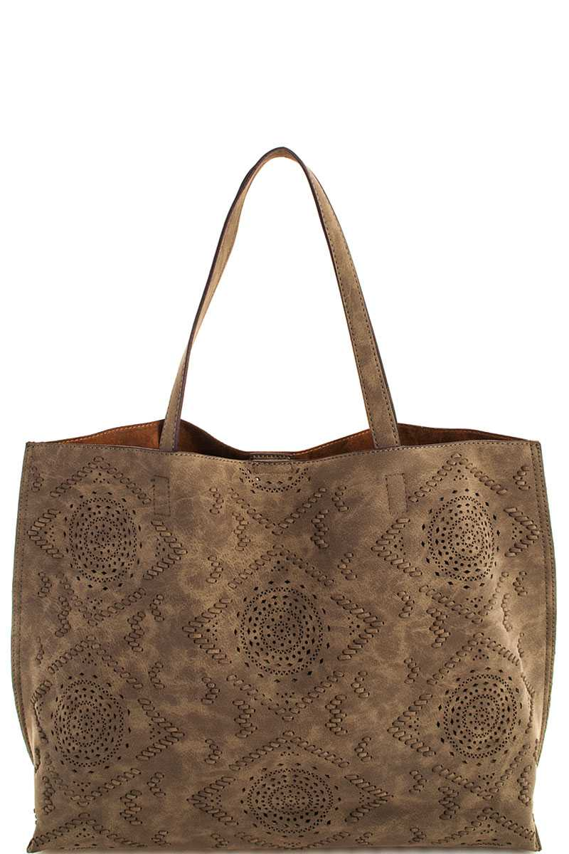 Ladies Vegan Leather Tote with etched design color olive. By Street Level