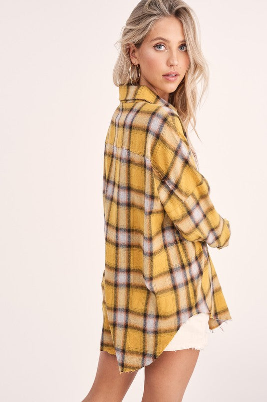 BUTTON DOWN OVERSIZED LONG SLEEVE PLAID SHIRT IN MUSTARD , NAVY AND CREAM