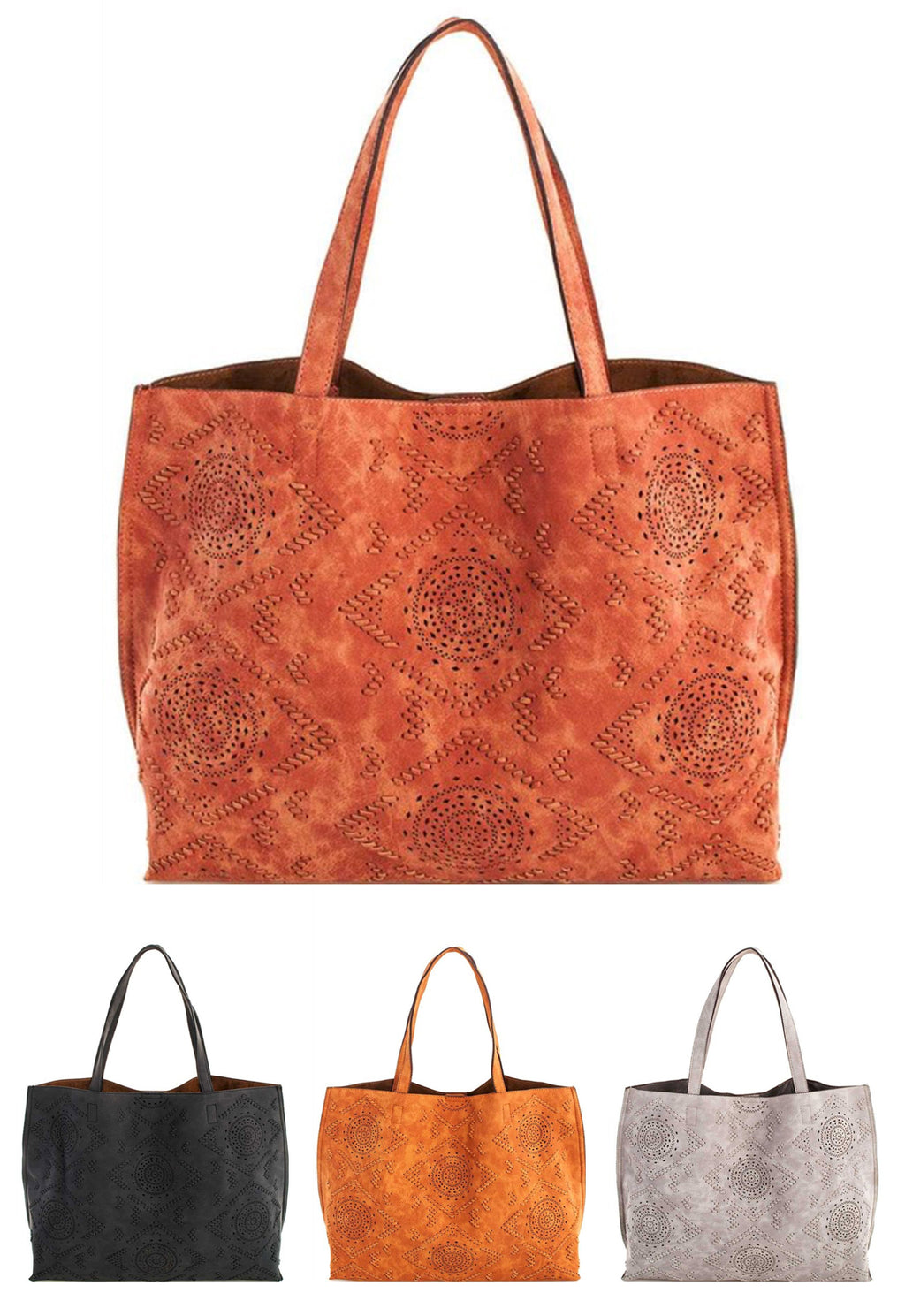 Ladies Vegan Leather Tote with etched design all colors shown. By Street Level