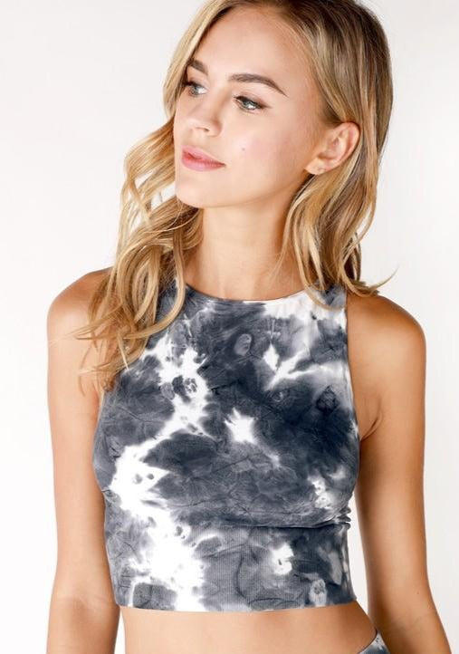TIE DYE HIGH NECK CROP TOP