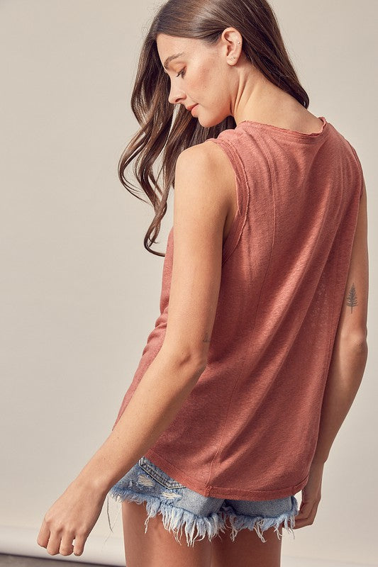 WASHED V-NECK TANK TOP (WOOD ROSE)