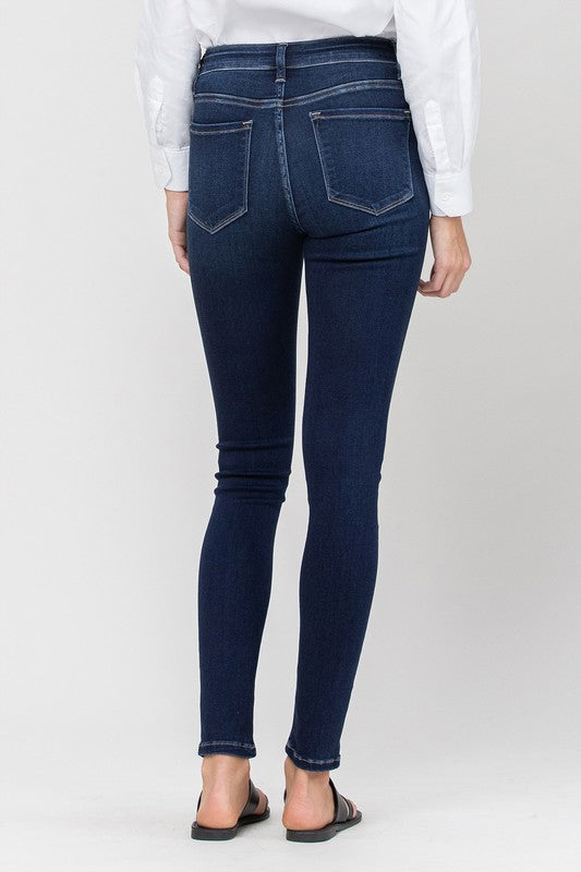 MID RISE ANKLE SKINNY JEANS, NON-DISTRESSED REAR VIEW