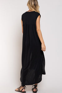 Deep Charcoal Color Linen Blend Maxi Cover Up with high side slits, deep v-neck and short sleeves