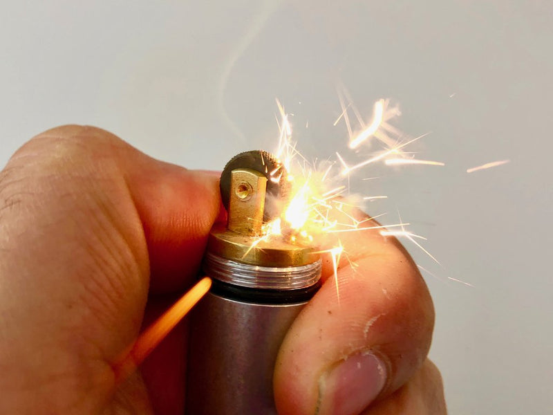 Extra Large Peanut Lighter in Raw Tumbled Aluminium by Maratac