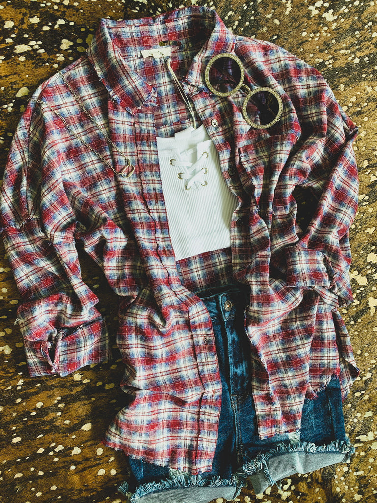 The Rowlett Flannel in Red