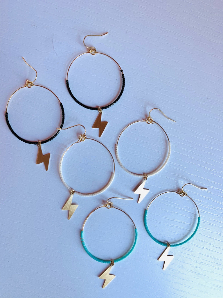 #885 Lightning Bolt Beaded Hoops