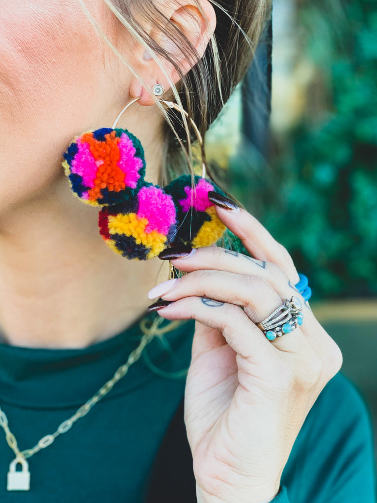 The Carthage Pom Pom Hoops in Green Multicolor