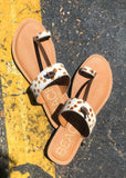 The Miami Sandal in Brown Spot Cowhide - Gypsy Waltz