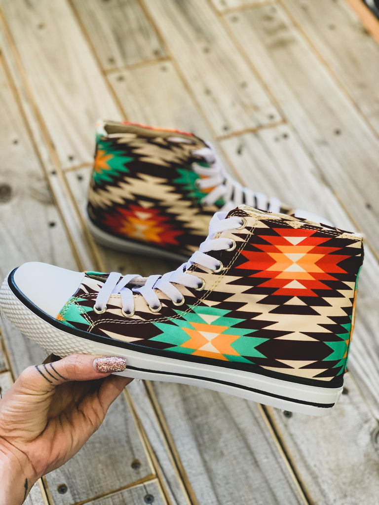 The Mobeetie Hi Top Sneaker in Orange Aztec