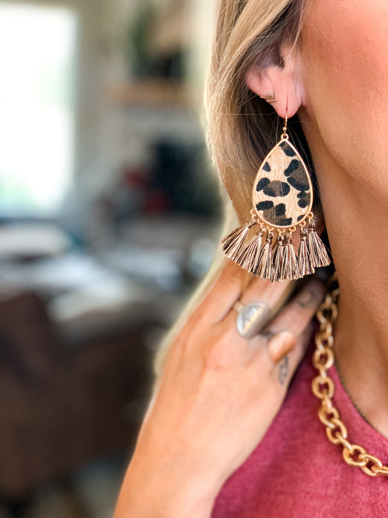 The Corrigan Leopard Cowhide Earrings