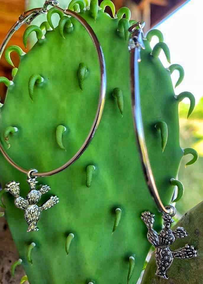 The Grandfalls Hoops with Cactus Charm