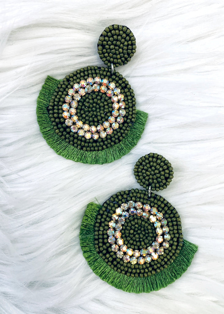 The Kermit Earrings in Olive