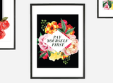 """Pay Yourself First"" Floral Geometric Instant Download Print (8.5 x 11)"