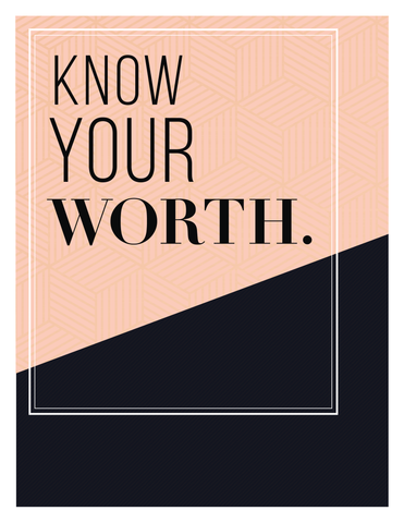 """Know Your Worth"" Geometric Pattern Instant Download Print (8.5 x 11)"