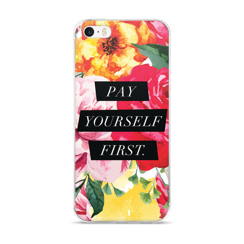 """Pay Yourself First"" Floral Geometric iPhone Case"