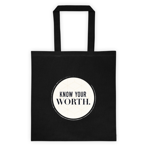 """Know Your Worth"" Black Canvas Tote"