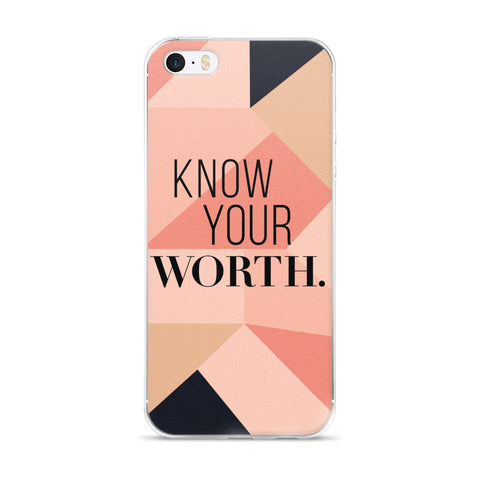 """Know Your Worth"" Geometric Pattern iPhone Case"