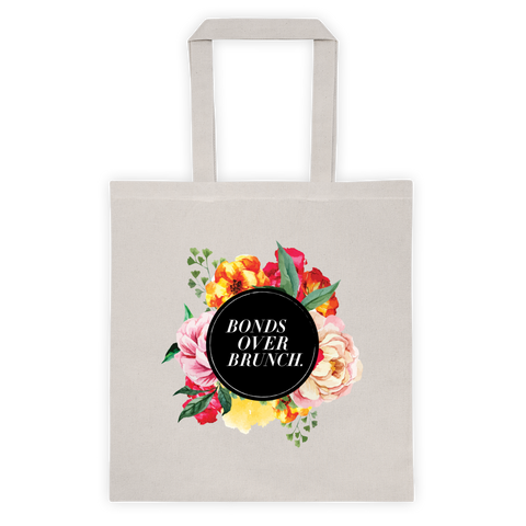 """Bonds Over Brunch"" Floral Background Tote Bag"