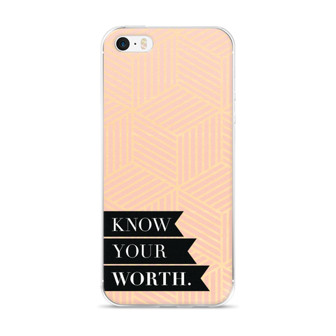 """Know Your Worth"" Geometric iPhone Case"