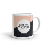 """Know Your Worth"" Geometric Pattern Mug"