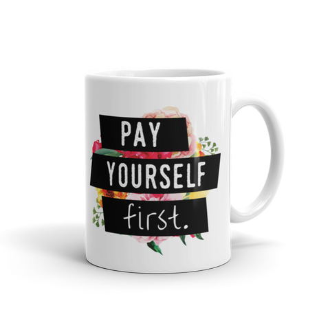 """Pay Yourself First"" Floral Geometric Mug"