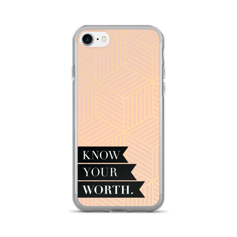 """Know Your Worth"" Geometric iPhone 7/7 Plus Case"