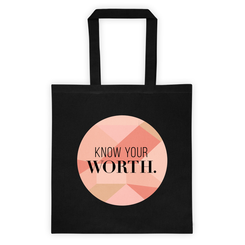 """Know Your Worth"" Geometric Circular Black Canvas Tote"