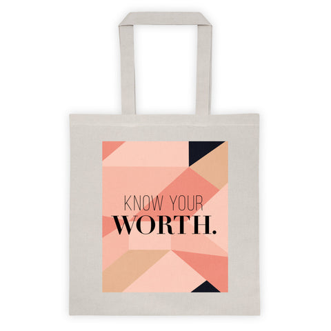 """Know Your Worth"" Geometric Pattern Tote"