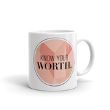 """Know Your Worth"" Geometric Circular Mug"