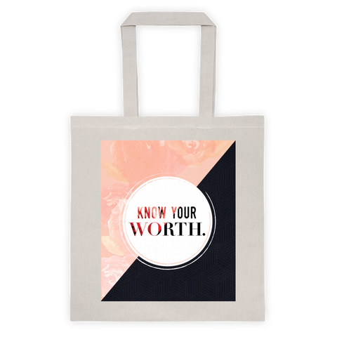 """Know Your Worth"" Geometric Floral Tote"